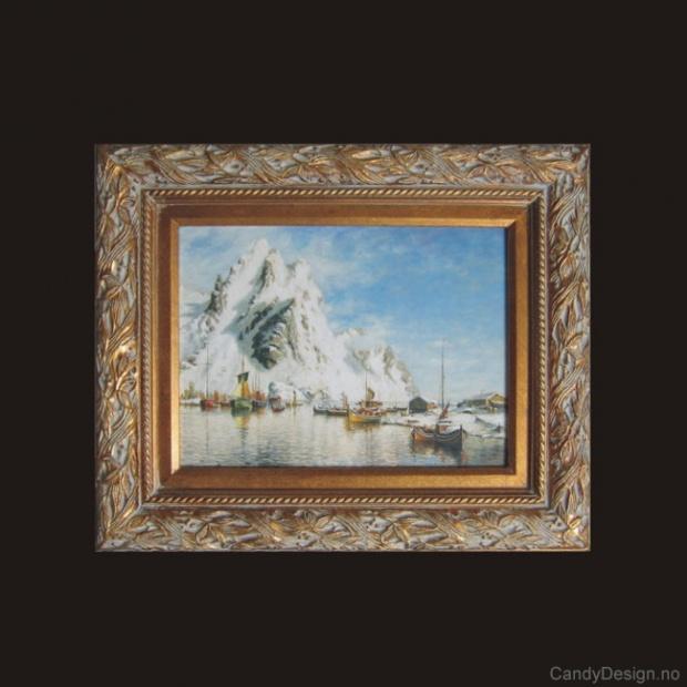 Oljemaleri  Havneparti fra Svolvær