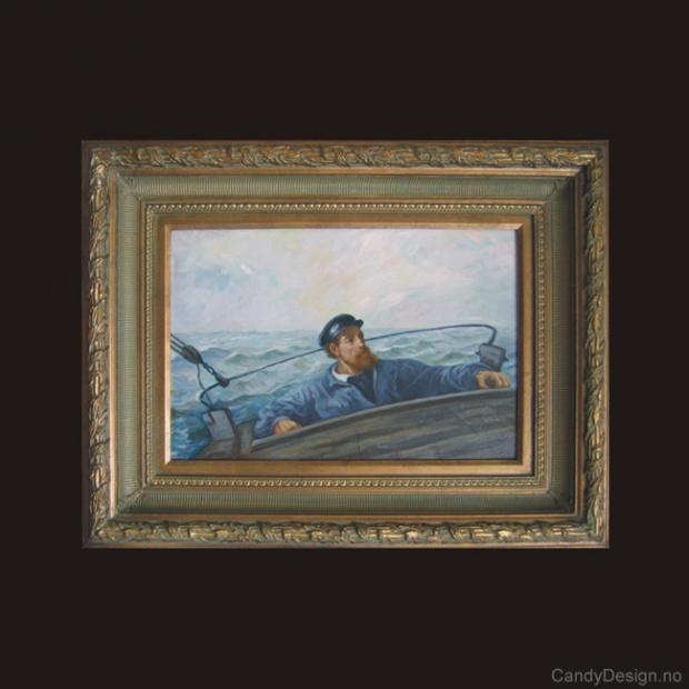 Oljemaleri  Skipper ved roret