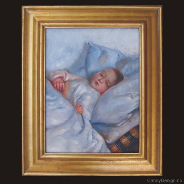 Oljemaleri  Sovende barn