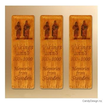To vikinger  (mann og kone) - Woodstyle magnet plater