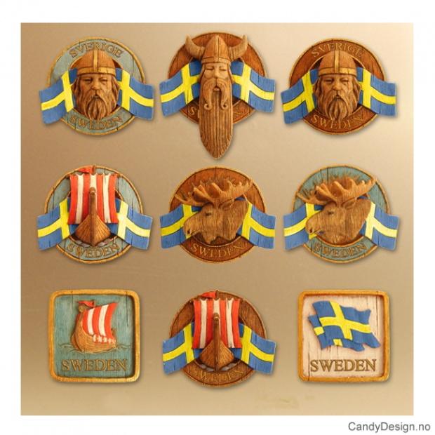 Runde suvenirmagneter med svensk flagg assortert