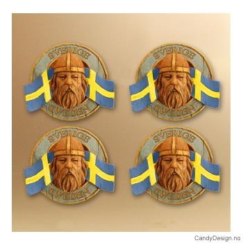 Runde suvenirmagneter med svensk flagg  Vikinghode