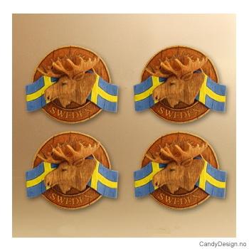 Runde suvenirmagneter med svensk flagg  Elghode