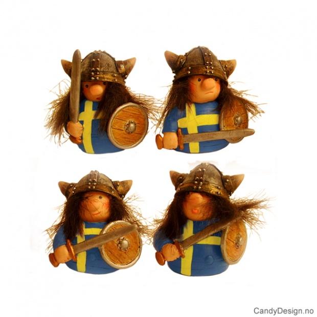 Runde vikinger med svensk flagg