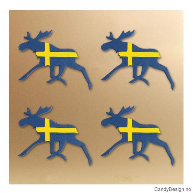 Løpende flat elg med magnet i svenske farger