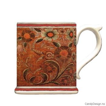 Krus med motiv - Antique rødbrun rosemaling