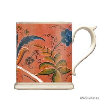 Krus med motiv - Antique orange rosemaling