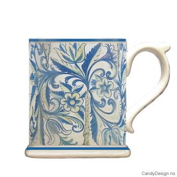 Krus med motiv - Antique blå/hvit rosemaling