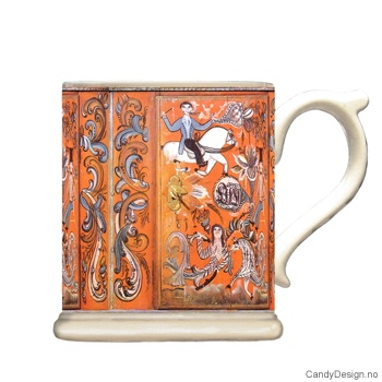 Krus med motiv - Antique orange m/hester rosemaling