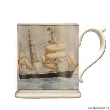 Krus med motiv - Antique maritim seilskip