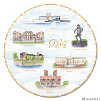 Stort suvenir fat med Oslo motiv
