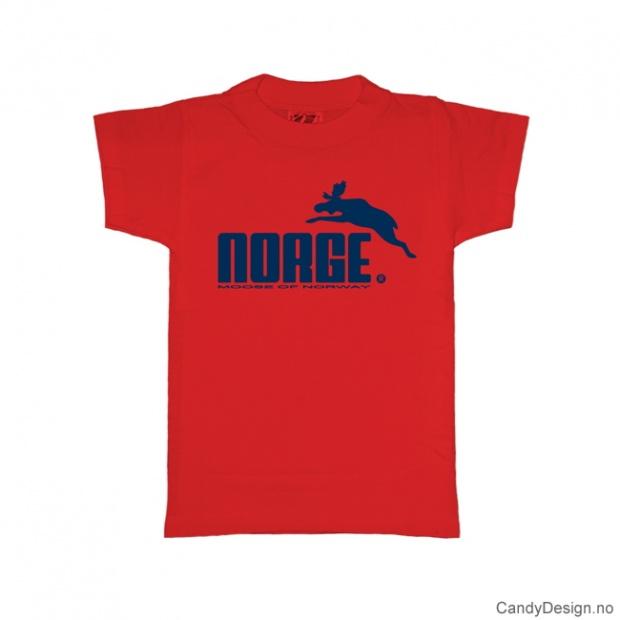 1-2 år- Barn classic T-skjorte rød med blått Norge med elg trykk