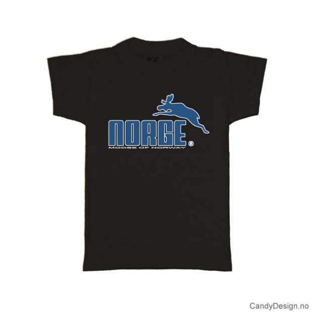 1-2 år- Barn classic T-skjorte sort med blått Norge med elg trykk
