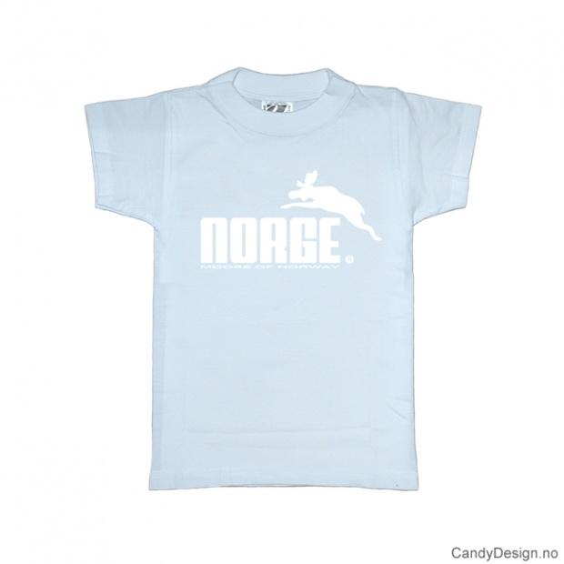 1-2 år- Barn classic T-skjorte lyseblå med hvitt Norge med elg trykk