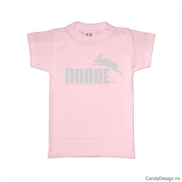 1-2 år- Barn classic T-skjorte lys rosa med grått Norge med elg trykk