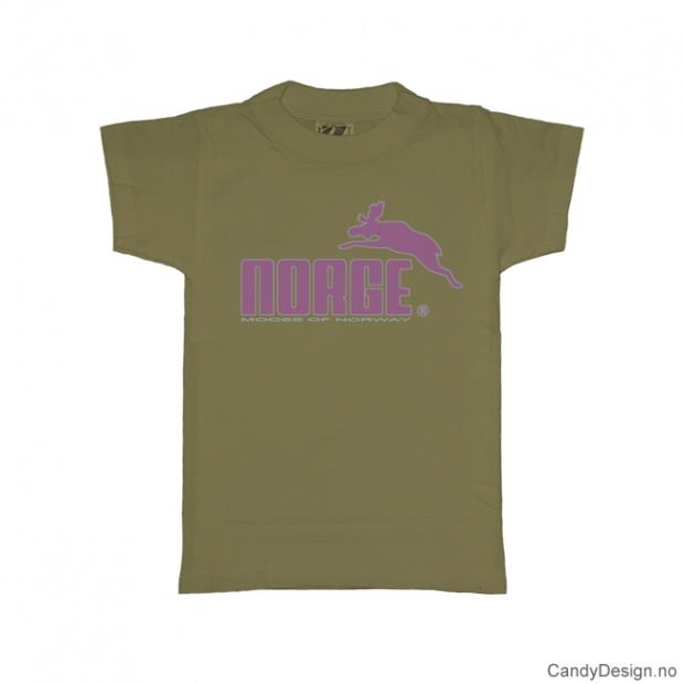 S- Herre classic T-skjorte oliven grønn med lilla Norge med elg trykk