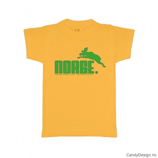 L- Herre classic T-skjorte gul med grønt Norge med elg trykk