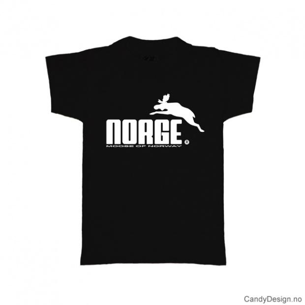 L- Herre classic T-skjorte sort med hvitt Norge med elg trykk