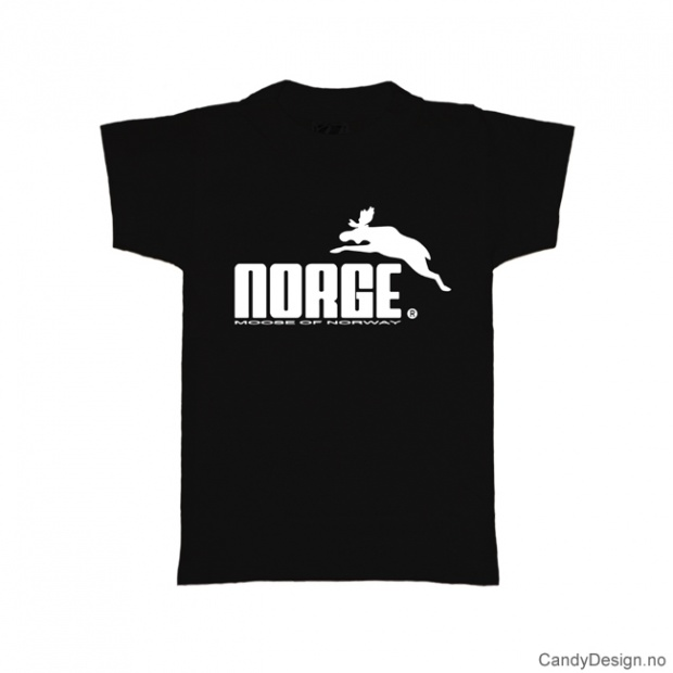 S- Herre classic T-skjorte sort med hvitt Norge med elg trykk