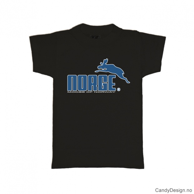 L- Herre classic T-skjorte sort med blått Norge med elg trykk