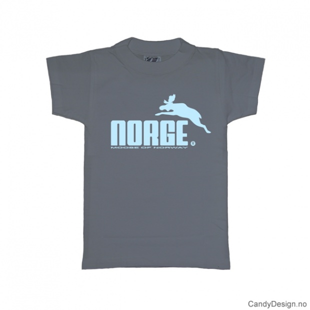 L- Herre classic T-skjorte grå-blå med lyseblått Norge med elg trykk