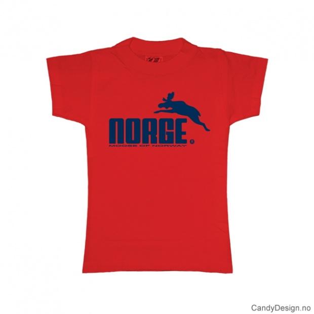 XS- Dame classic T-skjorte rød med blått Norge med elg trykk