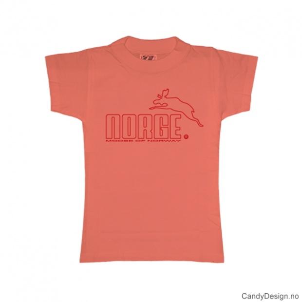 XS- Dame classic T-skjorte fersken med rødt Norge med elg trykk
