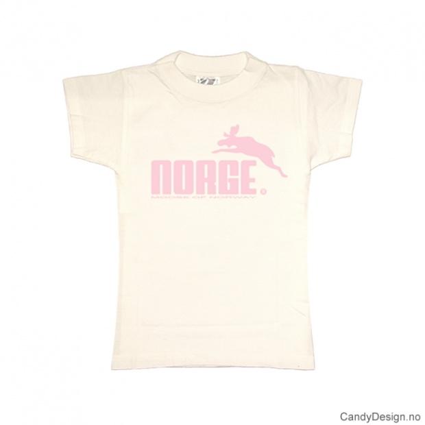 XS- Dame classic T-skjorte hvit med lys rosa Norge med elg trykk