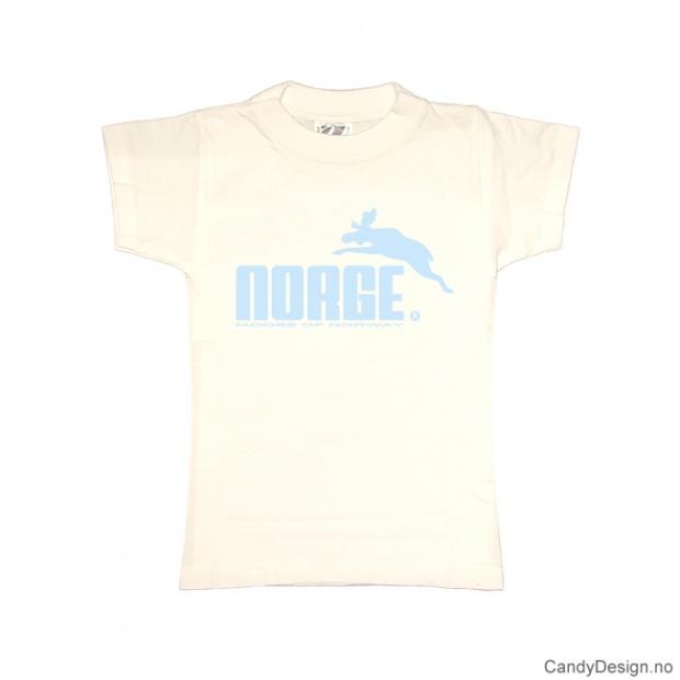 XS- Dame classic T-skjorte hvit med lyseblått Norge med elg trykk