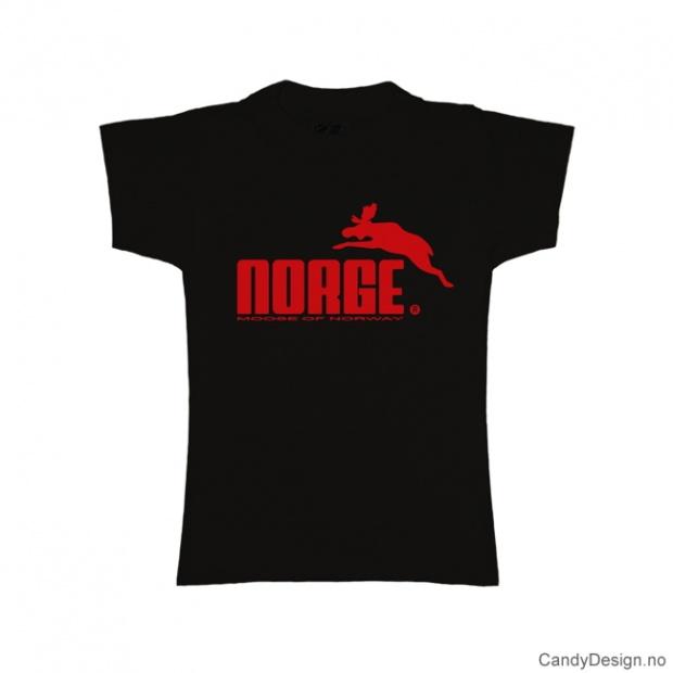 L- Dame classic T-skjorte sort med rødt Norge med elg trykk