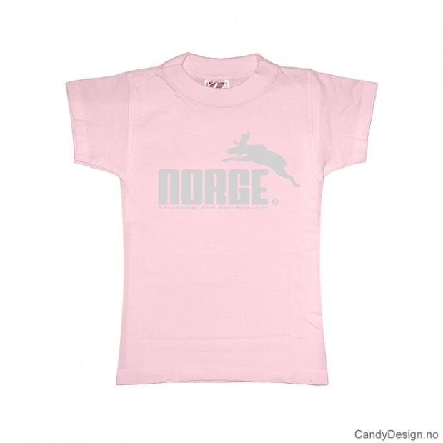 L- Dame classic T-skjorte rosa med lyse grått Norge med elg trykk