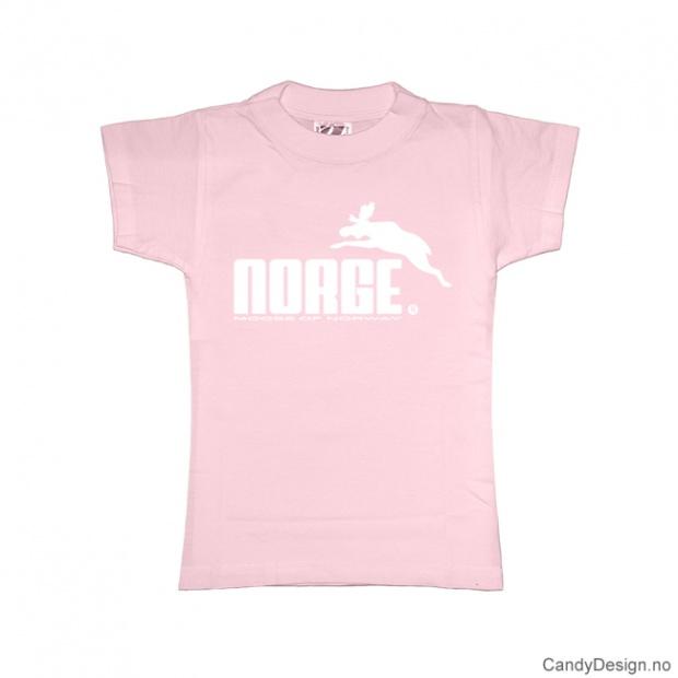 L- Dame classic T-skjorte rosa med hvitt Norge med elg trykk