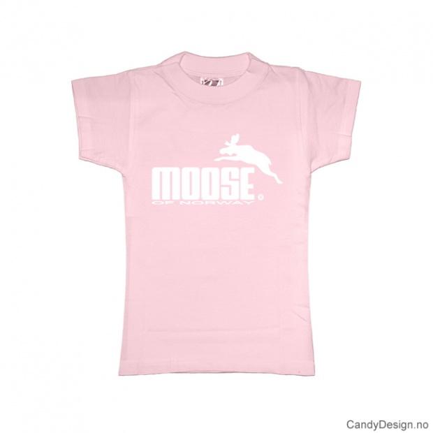 L - Dame classic T-skjorte rosa med hvitt Moose med elg trykk