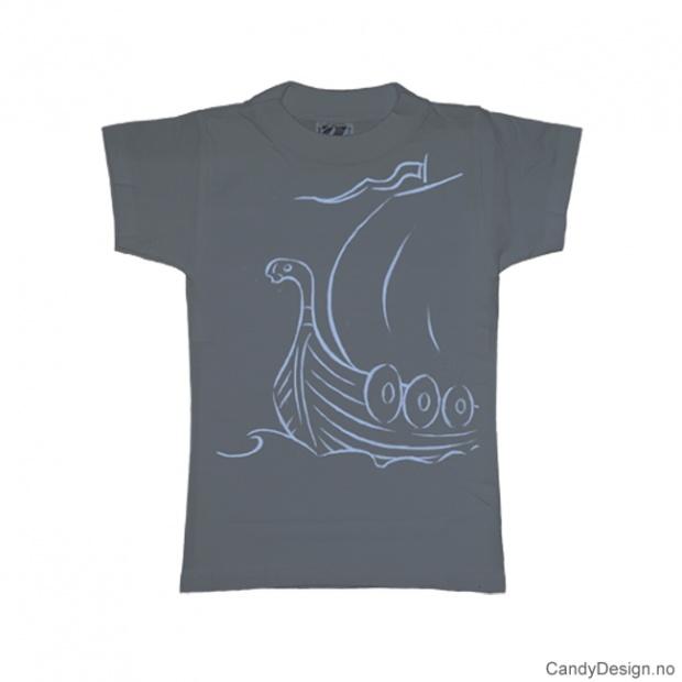XS- Dame T-skjorte gråblå med lyse blått vikingskip trykk
