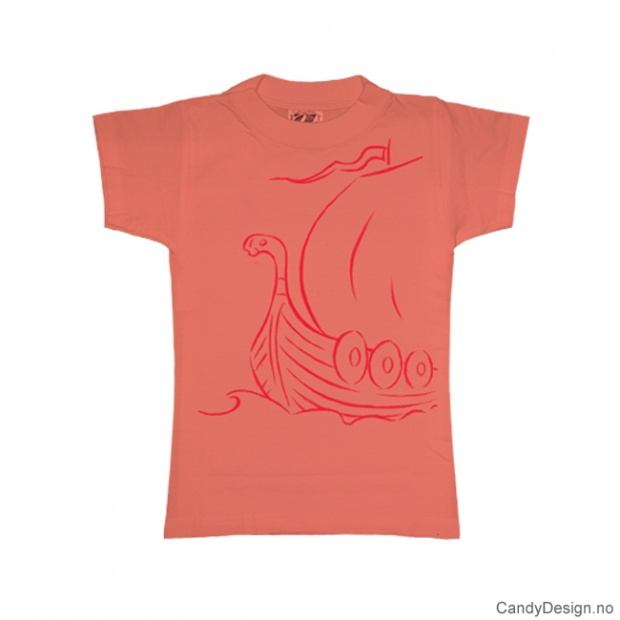 L- Dame T-skjorte fersken med rødt vikingskip trykk