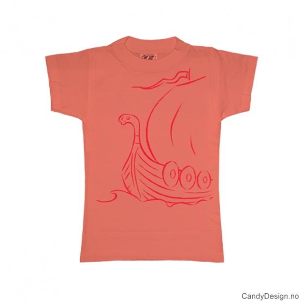 XS- Dame T-skjorte fersken med rødt vikingskip trykk