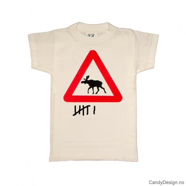 L- Herre T-skjorte hvit med elgskilt trykk