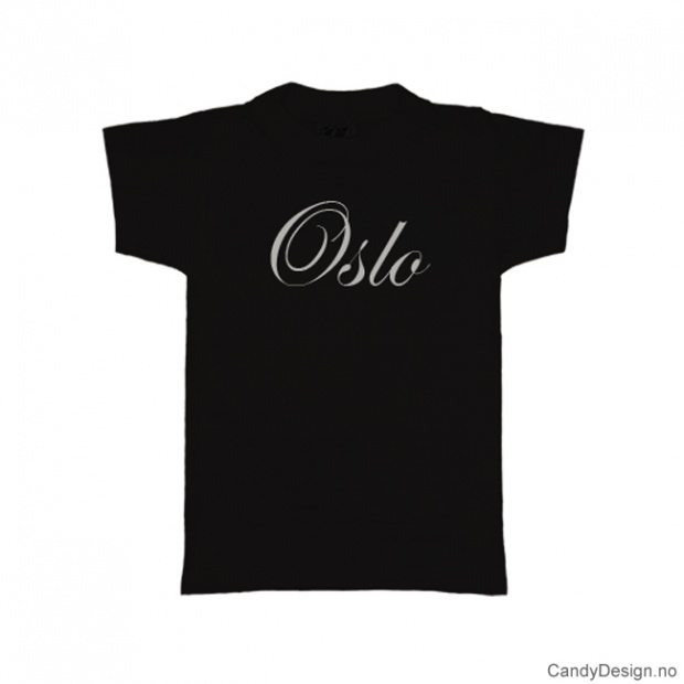 L- Herre T-skjorte Oslo sort med hvitt trykk