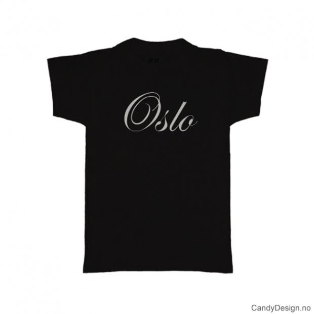 XXL- Herre T-skjorte Oslo sort med hvitt trykk