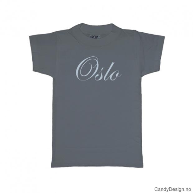 XL- Herre T-skjorte Oslo gråblå med lyse blått trykk