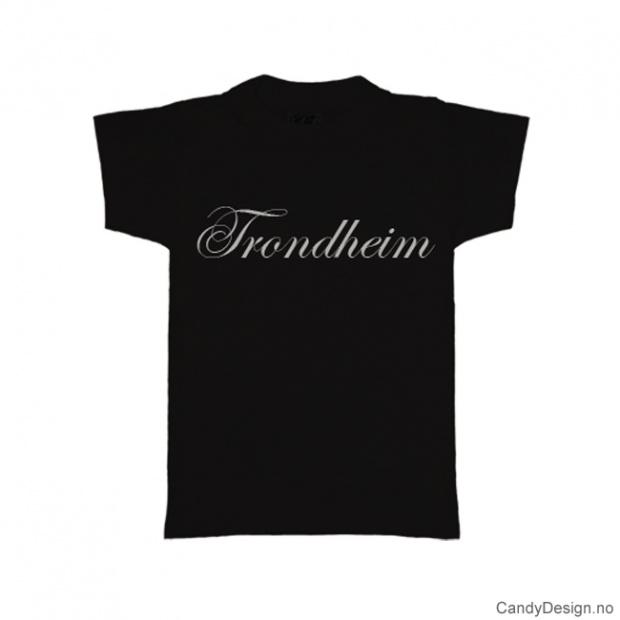 L- Herre T-skjorte Trondheim sort med hvitt trykk