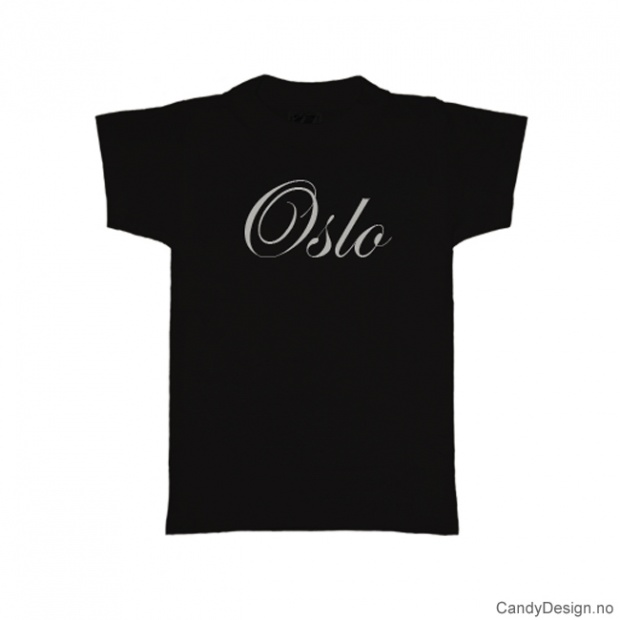 L - Ladies Classic T-shirt Oslo black with white print