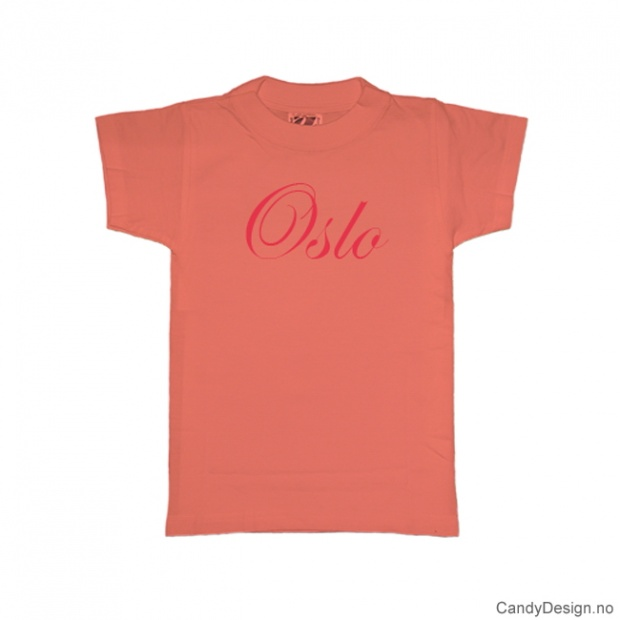XL - Ladies Classic T-.shirt Oslo peach with red print