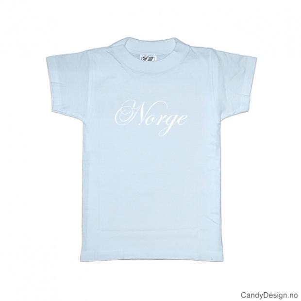 XS - Dame T-skjorte Norge lys blå med hvitt trykk