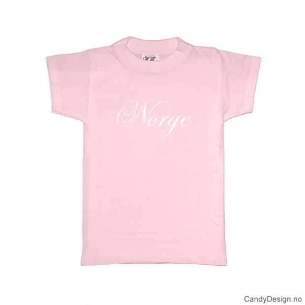 L - Dame T-skjorte Norge rosa med hvitt trykk