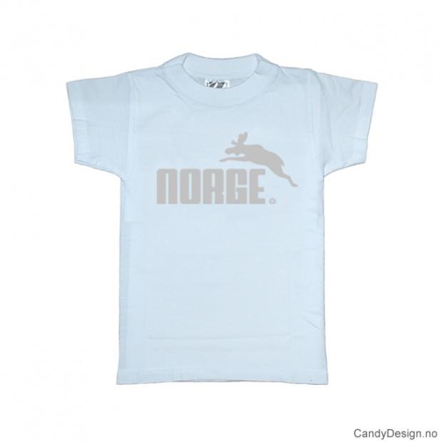 1-2 år- Barn Classic T-skjorte - Lys blå med sølv trykk - Norge + Elg