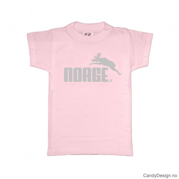 1-2 år- Barn Classic T-skjorte - Lysrosa med sølv trykk - Norge + Elg