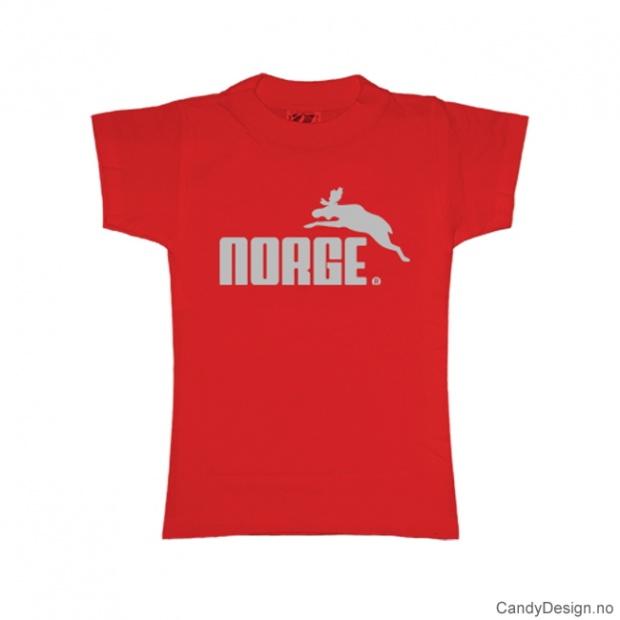 L- Dame Classic T-skjorte rød med sølv trykk - Norge + Elg