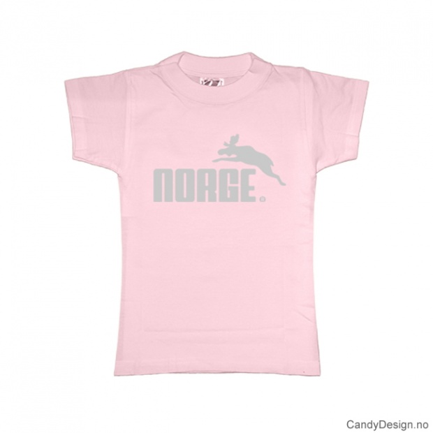 XS- Dame Classic T-skjorte rosa med sølv trykk - Norge + Elg