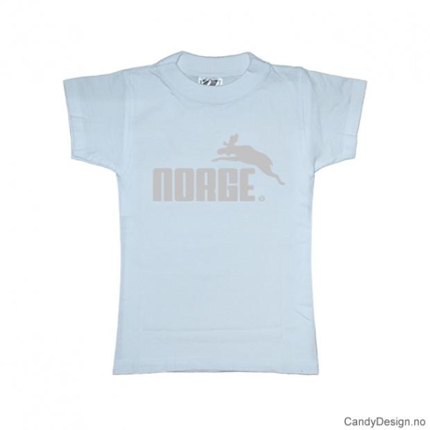 XS- Dame Classic T-skjorte lys blå med sølv trykk - Norge + Elg